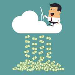 Young businessman working on cloud, Business idea