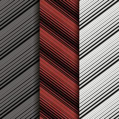 Set of 3: Seamless patern with diagonal lines. Red. Eps10