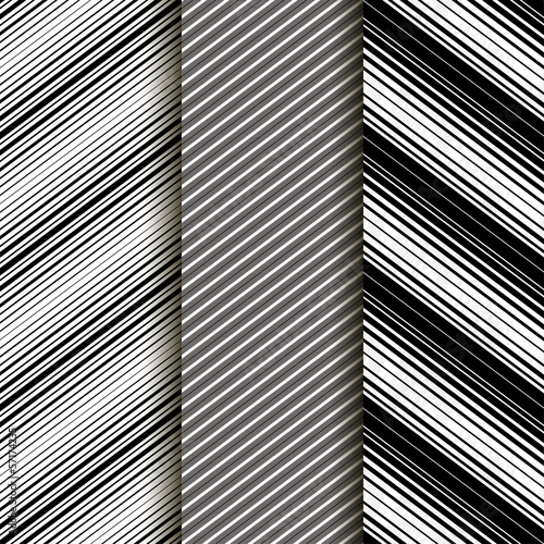Set of 3: Seamless patern with diagonal lines. Gray. Eps10