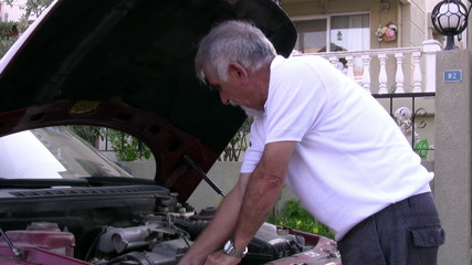 Man with his broken car