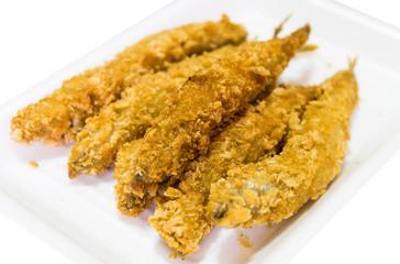 fried fish isolated on white background