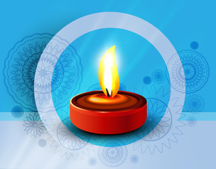 Hindu festival colorful diya background illustration vector