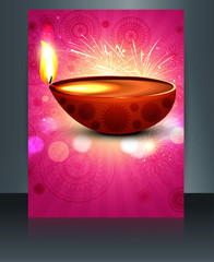 Happy diwali illustration of decorated diya brochure template ve
