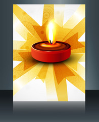 Diwali oil lamp colorful template reflection brochure design vec