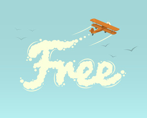 Biplane with word Free. Vector illustration.