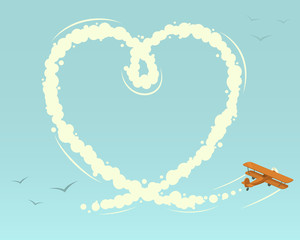Biplane with heart shape. Vector illustration.