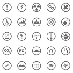 Warning sign icons on white background