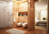 Modern bathroom in a modern hotel