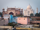 The Taj Mahal Seen from a Rooftop in Agra, India