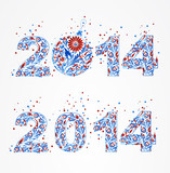 Set of abstract pattern sign 2014