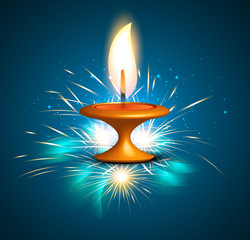 Diwali hindu festival oil lamp blue colorful background
