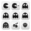 Pacman, ghosts, 8bit retro game buttons set