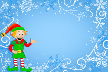 blauer Weihnachtshintergrund mit Wichtel
