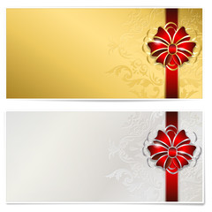 Gold and silver gift voucher - isolated on white, place for text