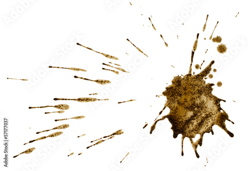 Coffee or mud splat isolated on white. Clipping path.