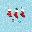 christmas stockings and snow