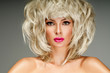 beautiful blonde  woman with bright lipstick