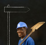 African black man worker with chalk sign on a background