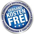 """Button """"Versandkostenfrei innerhalb Deutschlands"""" blau/silber"""