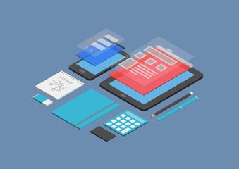 Mobile web design and development illustration