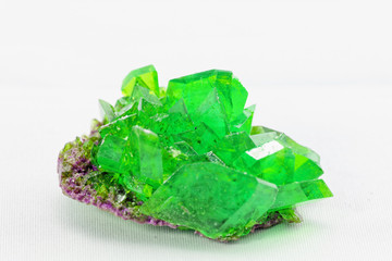 crystal macro photo in emerald color