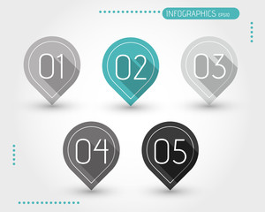 five flat turquoise bubbles with numbers