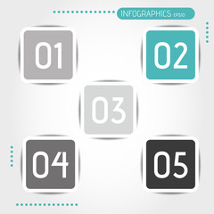turquoise rounded square buttons with numbers