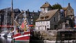 Ship in harbour of Honfleur, France