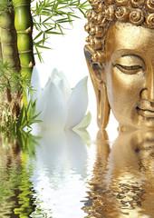 Bouddha, bambou et fleur de lotus