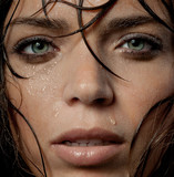 wet woman's face