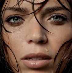 wet woman's face