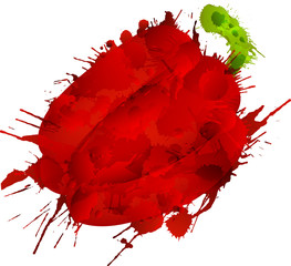 Bell pepper made of colorful splashes on white background