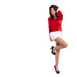 Sensual Christmas woman full body portrait on white background w
