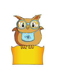 Sweet Owl chubby with blue glasses and bib carries note