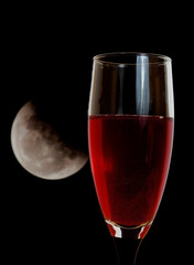 red wine and moon