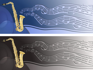 Header with saxophone