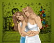 Vector Women Gay Couple Have Christmas Time