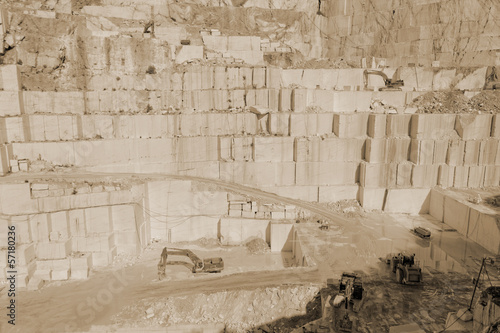 Thassos white marble quarry sepia