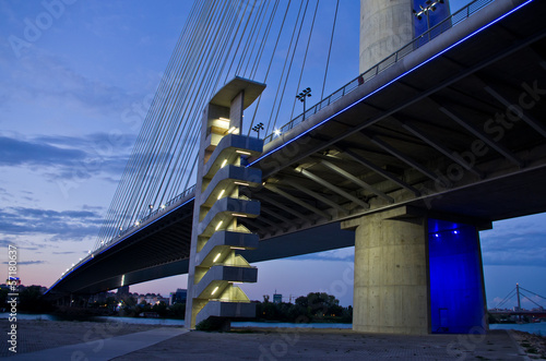Cable bridge over Sava river at twilight