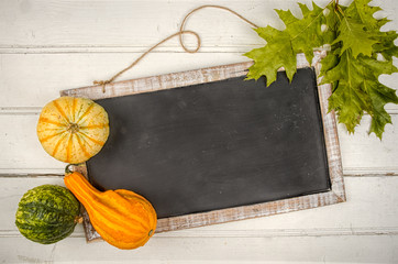Blackboard with pumpkin. Copy space