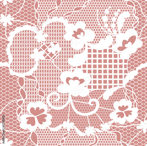 Lace white seamless pattern with flowers on pink background