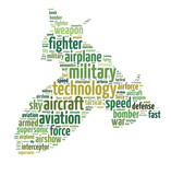 Words illustration of a jet fighter over white background