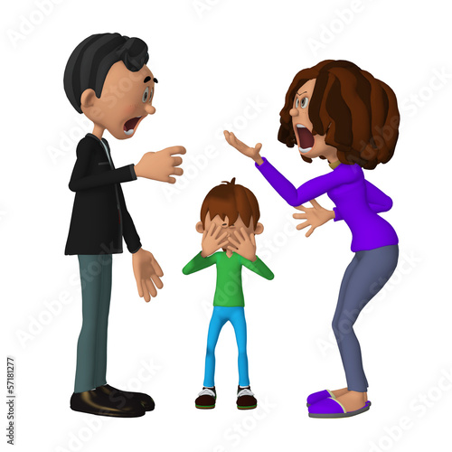 sad 3d child hearing his parents arguing