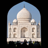 Tourists Going Through the Main Gate Into the Taj Mahal Complex