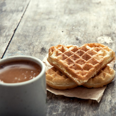 heart shaped waffles and coffee