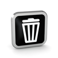 black trash bin icon on a white background