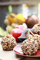 Chocolate Chip Carmel Apples Outdoors