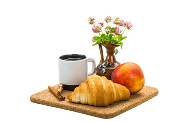 Breakfast wirh coffee and croissant