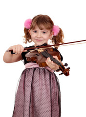 beautiful little girl play violin portrait