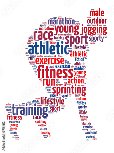 Words illustration of an athlete ready to sprint
